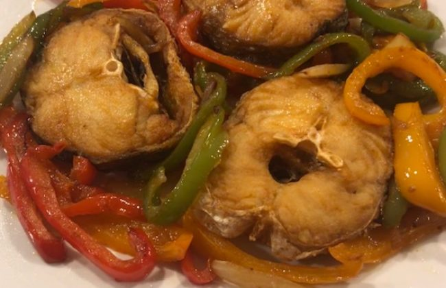 Fried Fish with Sweet Pepper and Onion.