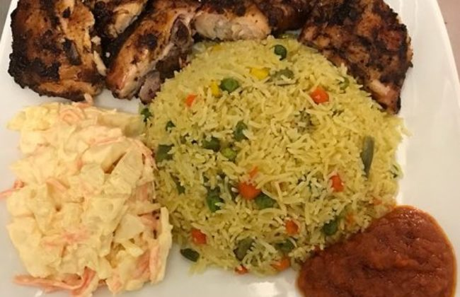 Fried Rice and Grilled Chicken with Coleslaw