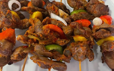 Gizzard with onion and sweet pepper.